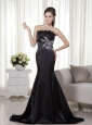Black Mermaid Strapless Brush Train Satin Appliques Prom Dress