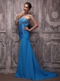 Blue Column Strapless Brush Train Chiffon Appliques Prom / Evening Dress