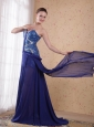 Royal Blue Empire Sweatheart Brush / Sweep Beading pleat Chiffon Prom / Party Dress