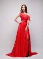 Bright Red Empire Asymmetricalr Chiffon  Prom / Evening Dress with Appliques