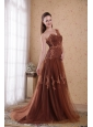 Brown Column / Sheath One Shoulder Brush /Sweep Appliques Tulle Prom/Pageant Dress