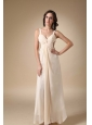 Champagne Empire Straps Floor-length Chiffon Beading and Ruch Prom / Evening Dress