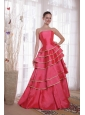 Coral Red A-line / Princess Strapless Floor-length Satin Ruffles Prom Dress