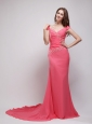 Coral Red Column V-neck Brush Train Chiffon Appliques Prom / Evening Dress