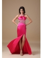 Hot Pink Column V-neck Brush Train Taffeta Beading Prom Dress