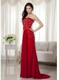 Elegant Wine Red Strapless Beading Prom Dress Brush Train Chiffon Bow Knot