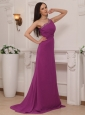 Fuchsia Column One Shoulder Brush Train Chiffon Beading Prom / Pageant Dress