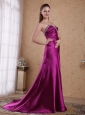 Fuchsia Column / Sheath Sweetheart Brush / Sweep Elastic Woven Satin Beading and Pleat Prom Dress