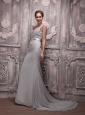 Gray Empire V-neck Brush Train Chiffon Beading Prom / Evening Dress