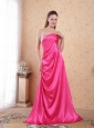 Hot Pink Empire Sweetheart Brush Train Taffeta Beading and Ruch Prom / Celebrity Dress