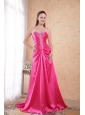 Hot Pink Empire Sweetheart Sweep / Brush Train Taffeta Beading Prom Dress