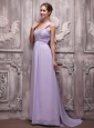 Lilac Empire One Shoulder Brush Train Chiffon Beading Prom / Evening Dress