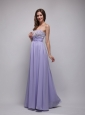 Lilac Empire Strapless Floor-length Chiffon Beading Prom Dress