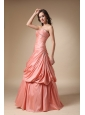 Watermelon Red A-line Strapless Floor-length Beading and Pick-ups Taffeta Prom Dress