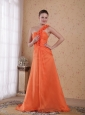 Orange Empire One Shoulder Sweep / Brush Train Chiffon Prom Dress