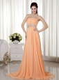 Light Orange Empire Strapless Brush Train Chiffon Beading and Ruch Prom / Celebrity Dress