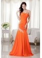 Orange Red Mermaid One Shoulder Brush Train Chiffon Prom Dress