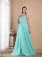 Popular Light Blue Empire Halter Floor-length Tulle Beading Prom Dress