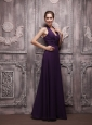 Dark Purple Empire Halter Floor-length Chiffon Ruch Prom / Evening Dress