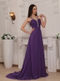 Purple Empire V-neck Brush Train Chiffon Beading and Ruch Prom / Pageant Dress