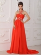 Red Empire Halter Court Train Chiffon Beading Red Prom / Evening Dress