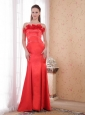 Red Mermaid Strapless Court Train Satin Hand Made Flower Prom Dress