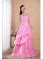 Rose Pink A-line / Princess Sweetheart Brush Train Organza Beading and Ruch Prom / Celebrity Dress