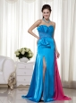 Teal and Hot Pink Column / Sheath Sweetheart Brush Train Chiffon and Elastic Woven Satin Beading Prom Dress