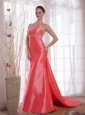 Waltermelon Column / Sheath Strapless Watteau Train Beading Elastic Woven Satin Prom / Party Dress