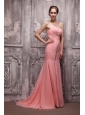 Watermelon Column Strapless Brush Train  Chiffon Beading Prom / Evening Dress