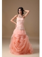Watermelon Red A-line Strapless Brush Train Organza Hand Made Flower Prom Dress