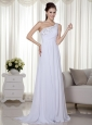 White Column One Shoulder Brush Train Chiffon Beading and Ruch Prom / Celebrity Dress