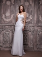 White Empire One Shoulder Brush Chiffon Ruch and Beading Prom / Evening Dress