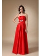 Wine Red A-line Strapless Floor-length Satin Beading Prom Dress