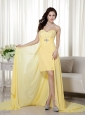Light Yellow Column / Sheath Sweetheart High-low Chiffon Beading Prom / Evening  Dress