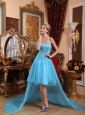 Aqua Blue A-line Sweetheart High-low Taffeta and Organza Beading Prom Dress