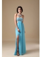 Aqua Empire Strapless Floor-length Chiffon Beading Prom Dress