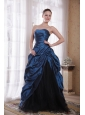 Beautiful A-Line / Princess Strapless Sweep / Brush Train Taffeta Hand Made Flowers Prom Dress