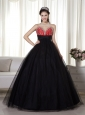 Black and Red A-line Sweetheart Floor-length Tulle and Taffeta Beading Prom Dress