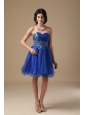 Blue A-line Sweetheart Mini-length Organza Beading Prom Dress