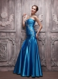 Blue Column Sweetheart Floor-length Taffeta Beading and Ruch Prom Dress