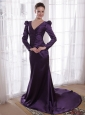 Dark Purple Column / Sheath V-neck Brush /Sweep Taffeta Mother of the Bride Dress