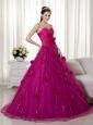 Fuchsia A-line Sweetheart Brush Train Tulle and Taffeta Hand Made Flowers Prom Dress