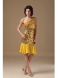 Gold Column One Shoulder Knee-length Sequin and Chiffon Beading Prom Dress