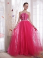Hot Pink A-Line/Princess Strapless Floor-length Tulle Beading Prom Dress