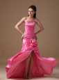 Hot Pink Column Strapless Brush Train Taffeta Beading Prom Dress