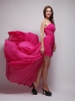 Hot Pink High-Low Chiffon One Shoulder Beading Prom / Evening Dress Asymmetrical Brush Train