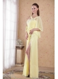 Light Yellow Empire Asymmetrical Floor-length Chiffon Beading and Rhinestones Prom / Evening Dress