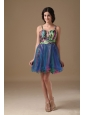Multi-color A-line Straps Mini-length Organza and Printing Beading Prom Dress