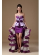 Eggplant Purple and Lilac A-line Sweetheart High-low Taffeta Beading Prom Dress
